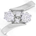 Nobler Damenring 0,56ct Diamanten in 14K Weissgold