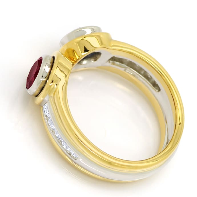 Foto 3, Diamantring Top Rubin Super Saphir Brillanten 18K Gold, S2124