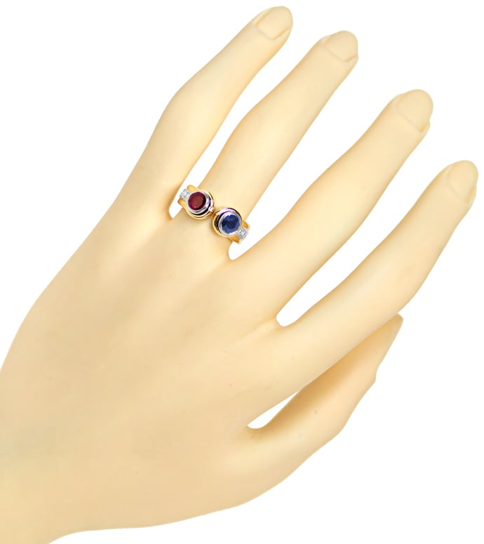 Foto 4, Diamantring Top Rubin Super Saphir Brillanten 18K Gold, S2124