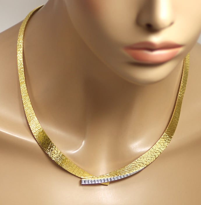 Foto 4 - Designer Collier mit 0,35ct Diamanten in 750er Gold, S2132