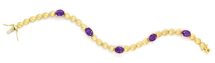 Foto 1, Armband Linsen Muster 6,3ct Amethyste in 585er Gelbgold, S2153