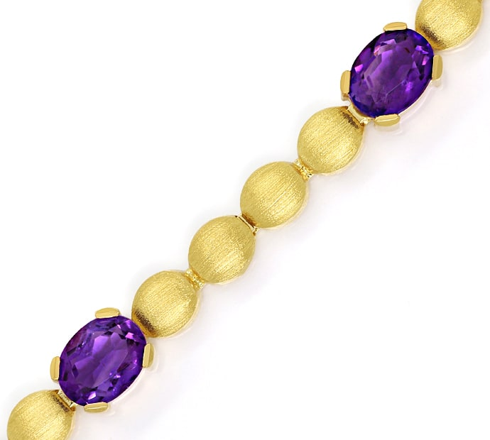 Foto 2, Armband Linsen Muster 6,3ct Amethyste in 585er Gelbgold, S2153