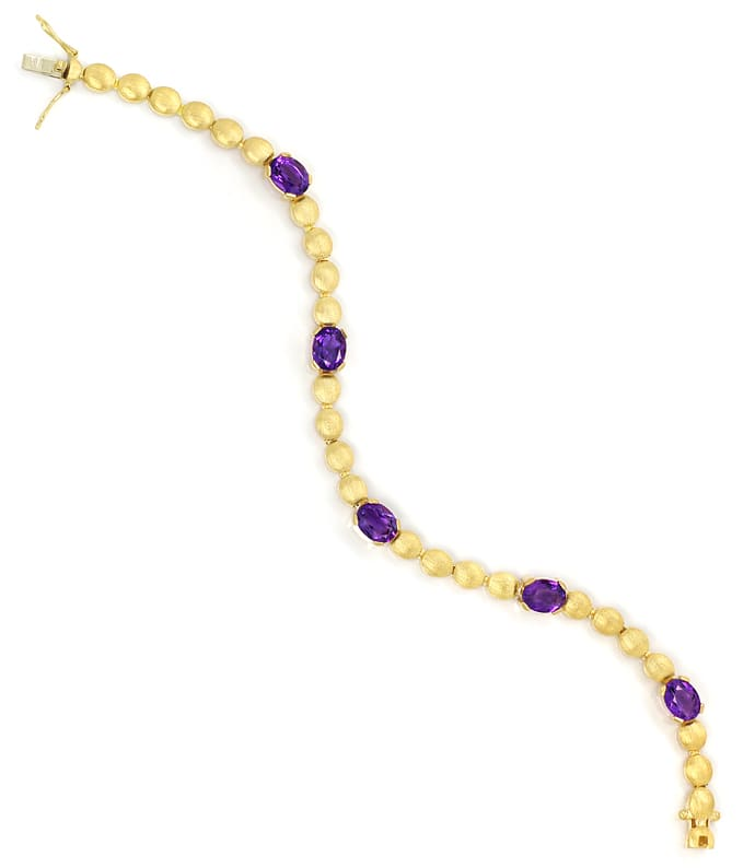 Foto 3, Armband Linsen Muster 6,3ct Amethyste in 585er Gelbgold, S2153