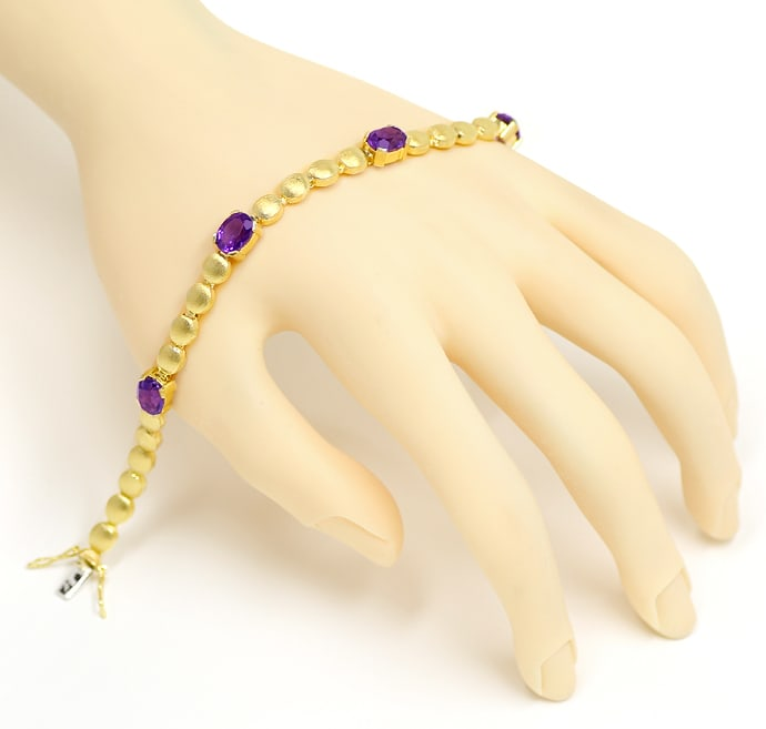 Foto 4, Armband Linsen Muster 6,3ct Amethyste in 585er Gelbgold, S2153