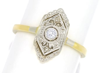 Foto 1 - Feiner alter Diamantring mit 3 Diamanten in 14K Gold, S2154