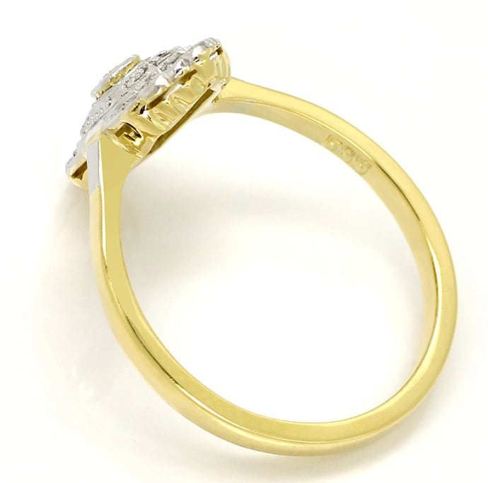 Foto 3 - Feiner alter Diamantring mit 3 Diamanten in 14K Gold, S2154