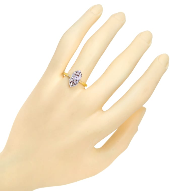 Foto 4 - Feiner alter Diamantring mit 3 Diamanten in 14K Gold, S2154