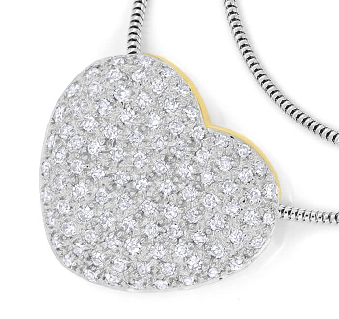 Foto 2, Herz Collier mit 97 Diamanten in 585er Gold, S2171