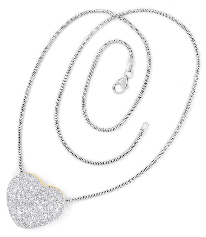 Foto 4, Herz Collier mit 97 Diamanten in 585er Gold, S2171