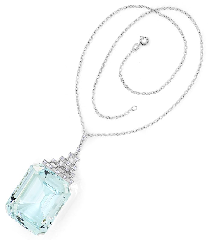 Foto 4, Antikes Collier sensationeller 147ct Aquamarin, S2175