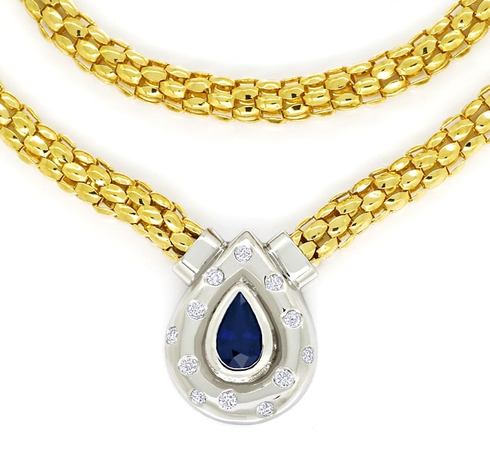 Foto 2, Collier mit Saphir und Brillanten in 750er Gold, S2176