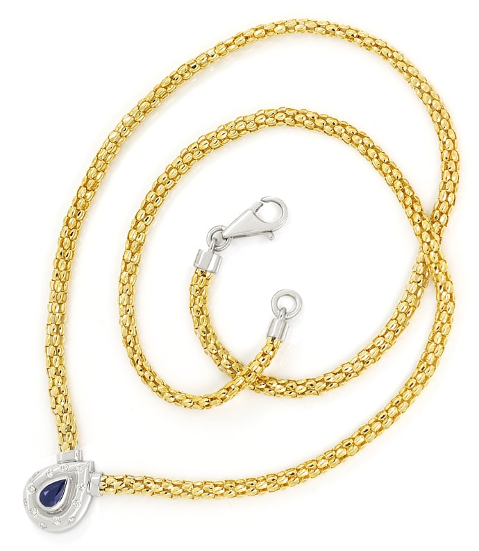 Foto 3, Collier mit Saphir und Brillanten in 750er Gold, S2176