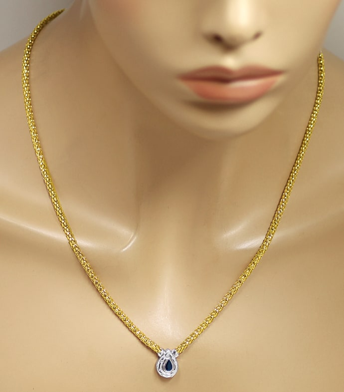Foto 4, Collier mit Saphir und Brillanten in 750er Gold, S2176