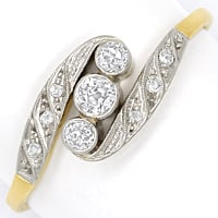zum Artikel Jugendstil Diamantring 0,20ct Diamanten in Gold Platin, S2200