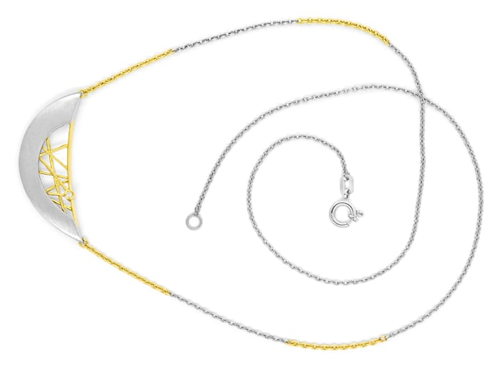 Foto 1 - Modisches Collier in Platin und Gold mit Brillant, S2213