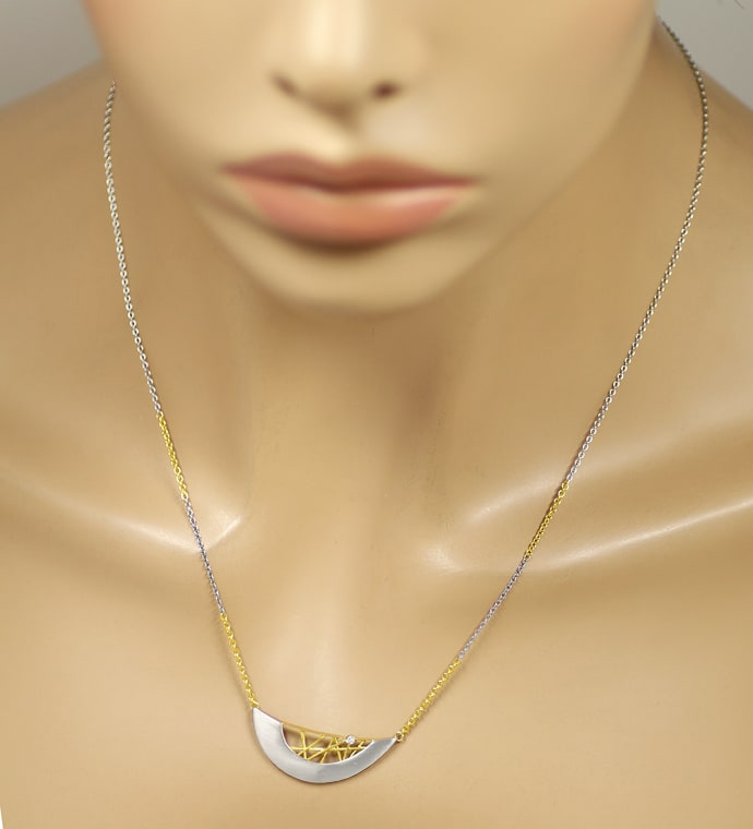 Foto 4, Modisches Collier in Platin und Gold mit Brillant, S2213