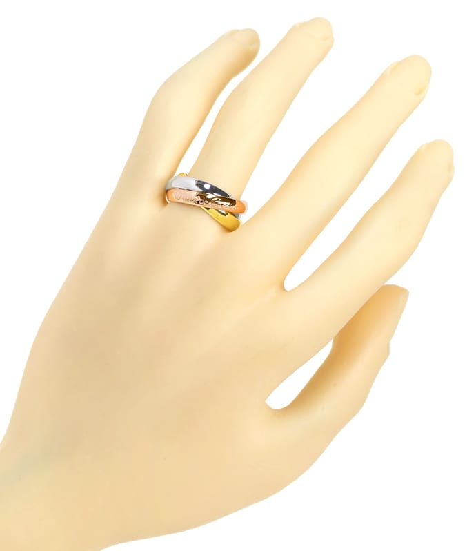 Foto 4, Cartier Trinity Ring aus 18K Gelbgold Rotgold Weissgold, S2215