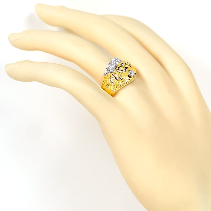 Foto 4, Diamantring Löwe mit Brillanten in massiv 14K Gold, S2218