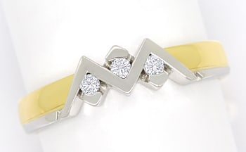 Foto 1 - Zickzack Diamantring mit 0,08ct Brillanten 18K Gold, S2220