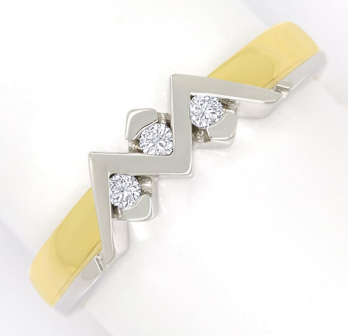 Foto 2 - Zickzack Diamantring mit 0,08ct Brillanten 18K Gold, S2220