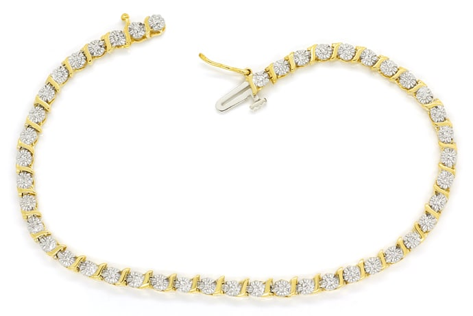 Foto 1 - Graziöses Tennisarmband mit 45 Diamanten in 14K Gold, S2225