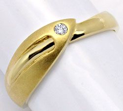 Foto 1, Designer Brillant Gold Ring Gelbgold Teil Mattiert Shop, S2236