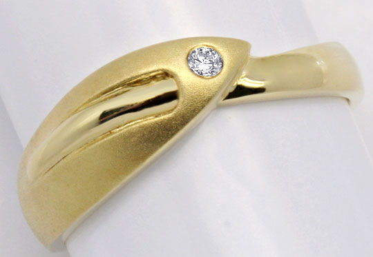 Foto 2, Designer Brillant Gold Ring Gelbgold Teil Mattiert Shop, S2236