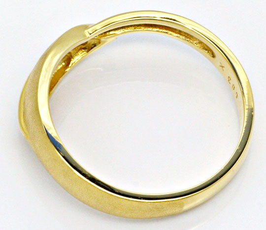 Foto 3, Designer Brillant-Gold-Ring Gelbgold Teil-Mattiert Shop, S2236