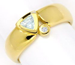 Foto 1, Aquamarin Brillant Goldring 14K Gold Gelbgold Shop Neu!, S2237