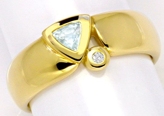 Foto 2, Aquamarin Brillant Goldring 14K Gold Gelbgold Shop Neu!, S2237
