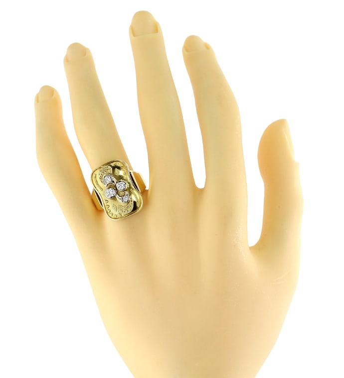 Foto 4 - Granulierter Gold Damenring 0,35ct Diamanten, S2291