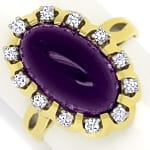 Goldring 7,3ct Amethyst und 0,24ct lupenreine Diamanten