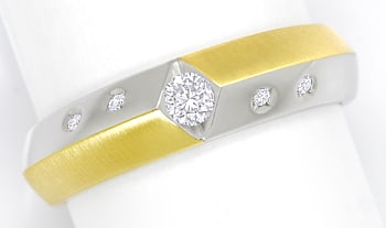Foto 1 - Designer Diamantring mit 0,18ct Brillanten in 14K Bicolor, S2319