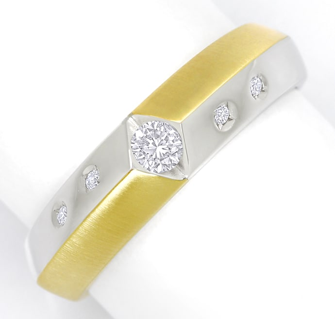 Foto 2 - Designer Diamantring mit 0,18ct Brillanten in 14K Bicolor, S2319