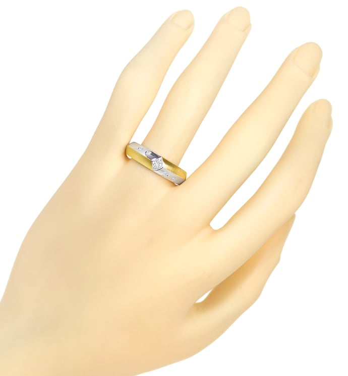 Foto 4 - Designer Diamantring mit 0,18ct Brillanten in 14K Bicolor, S2319