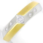 Designer Diamantring mit 0,18ct Brillanten in 14K Bicolor