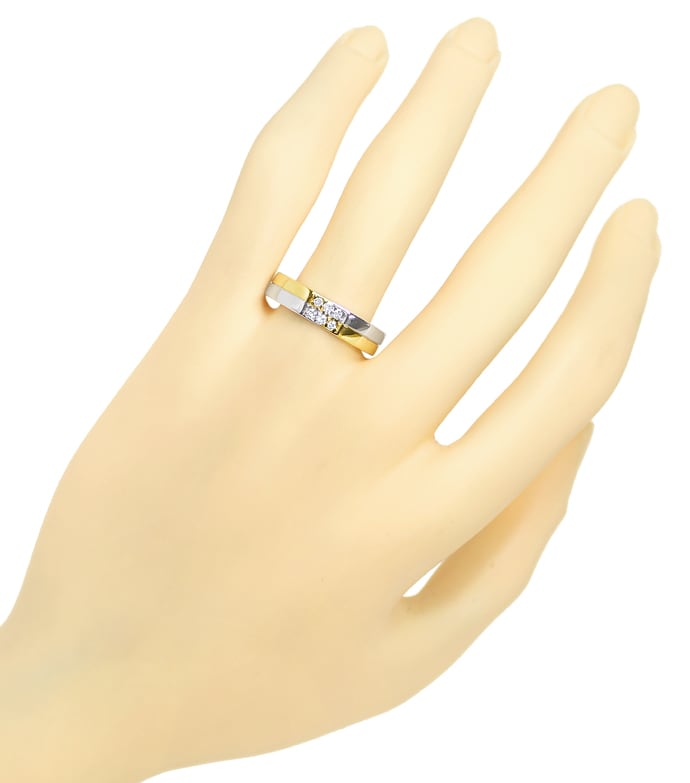 Foto 4 - Markanter Designer Ring 6 Brillanten in Bicolor Gold, S2321