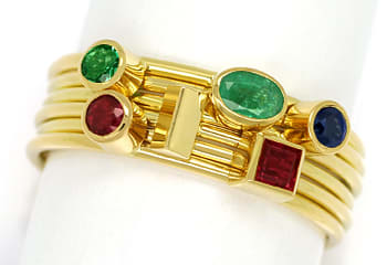 Foto 1 - Multicolor Edelstein Handarbeits Ring 18K Gelbgold, S2348
