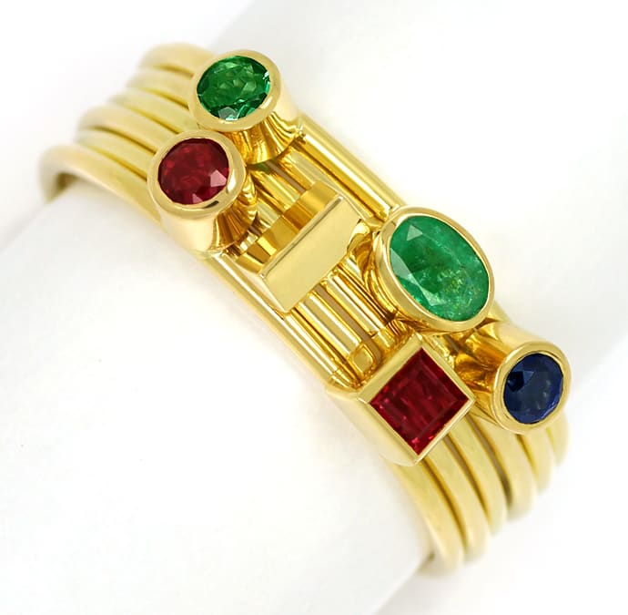 Foto 2 - Multicolor Edelstein Handarbeits Ring 18K Gelbgold, S2348