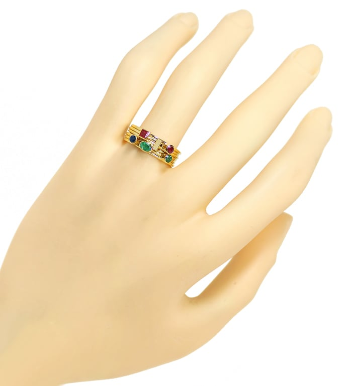 Foto 4 - Multicolor Edelstein Handarbeits Ring 18K Gelbgold, S2348