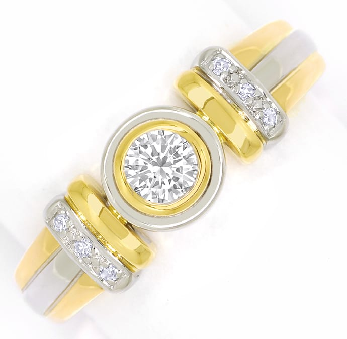 Foto 2, Bicolor Diamantring mit 0,29ct Diamanten in 18K Gold, S2372
