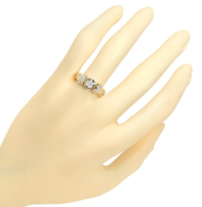 Foto 4, Bicolor Diamantring mit 0,29ct Diamanten in 18K Gold, S2372