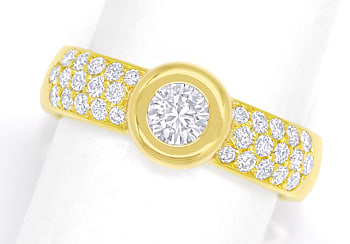 Foto 1 - Toller Diamantring mit 0,92ct Brillanten in 18K Gelbgold, S2415