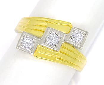 Foto 1 - Breiter Trilogie Ring 0,34ct Brillanten in 14K Gold, S2437