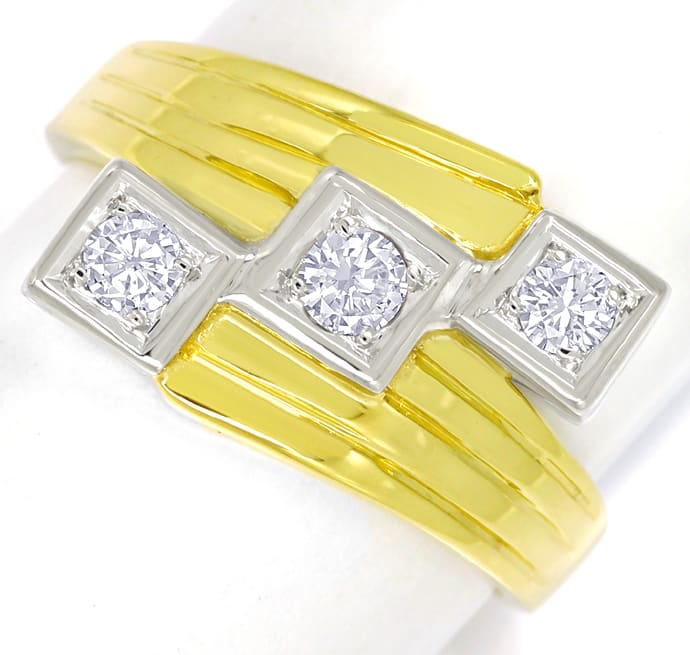 Foto 2 - Breiter Trilogie Ring 0,34ct Brillanten in 14K Gold, S2437