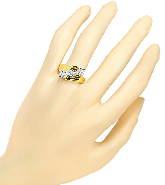 Foto 4 - Breiter Trilogie Ring 0,34ct Brillanten in 14K Gold, S2437