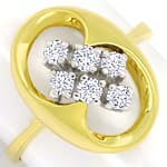 Modischer Diamantring mit 0,40ct Brillanten in 14K Gold