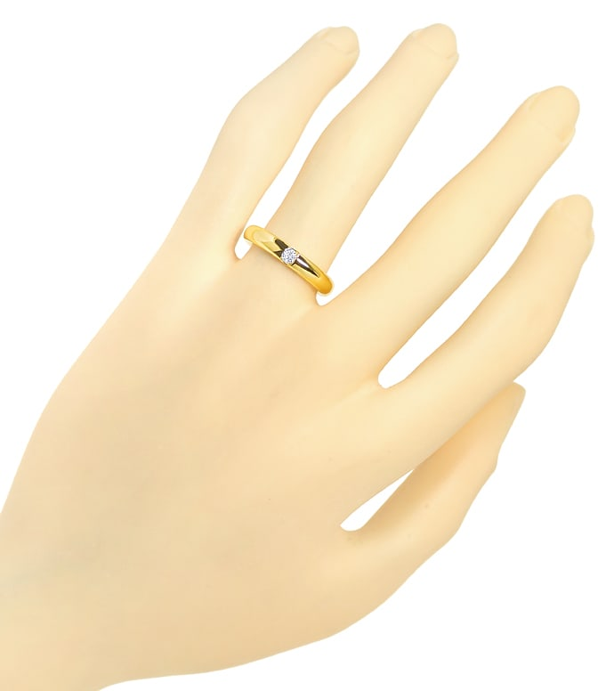 Foto 4 - Schicker Goldring 0,07ct Brillant massiv 750er Gelbgold, S2452