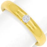 Schicker Goldring 0,07ct Brillant massiv 750er Gelbgold