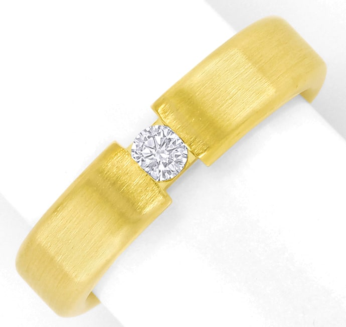 Foto 2 - Schicker Diamantring mit 0,12ct Brillant 14K mattes Gold, S2523